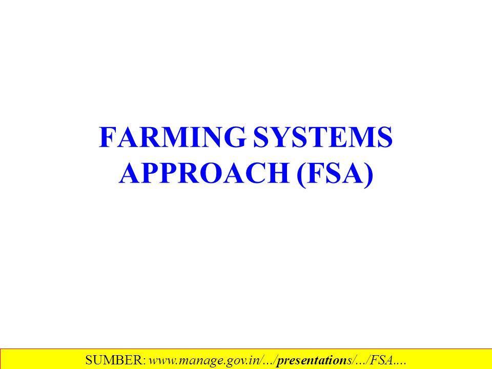 FARMING SYSTEMS APPROACH (FSA) SUMBER: www.manage.gov.in/.../presentations/.../FSA....