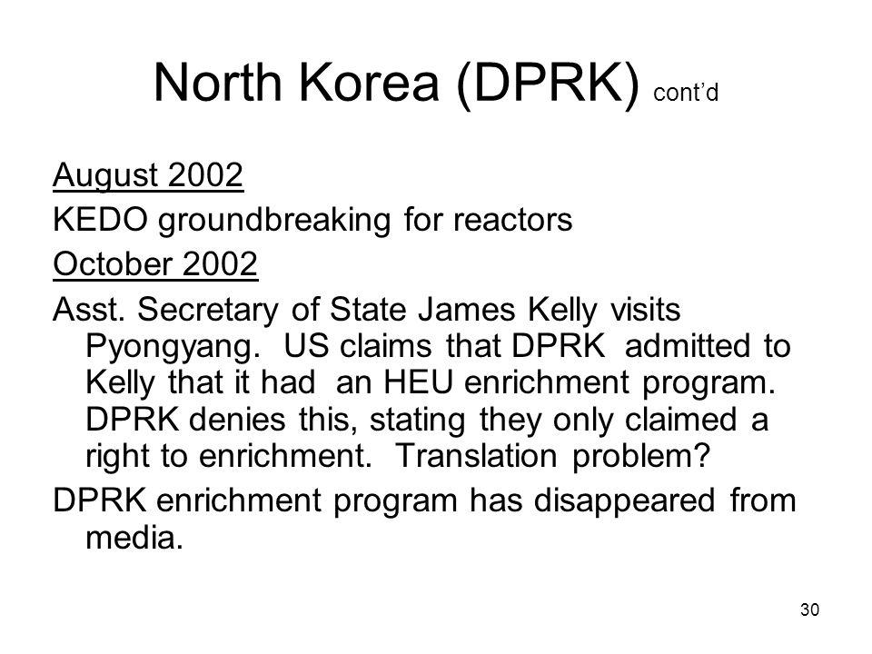 30 North Korea (DPRK) cont'd August 2002 KEDO groundbreaking for reactors October 2002 Asst.