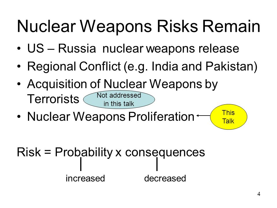 4 Nuclear Weapons Risks Remain US – Russia nuclear weapons release Regional Conflict (e.g.