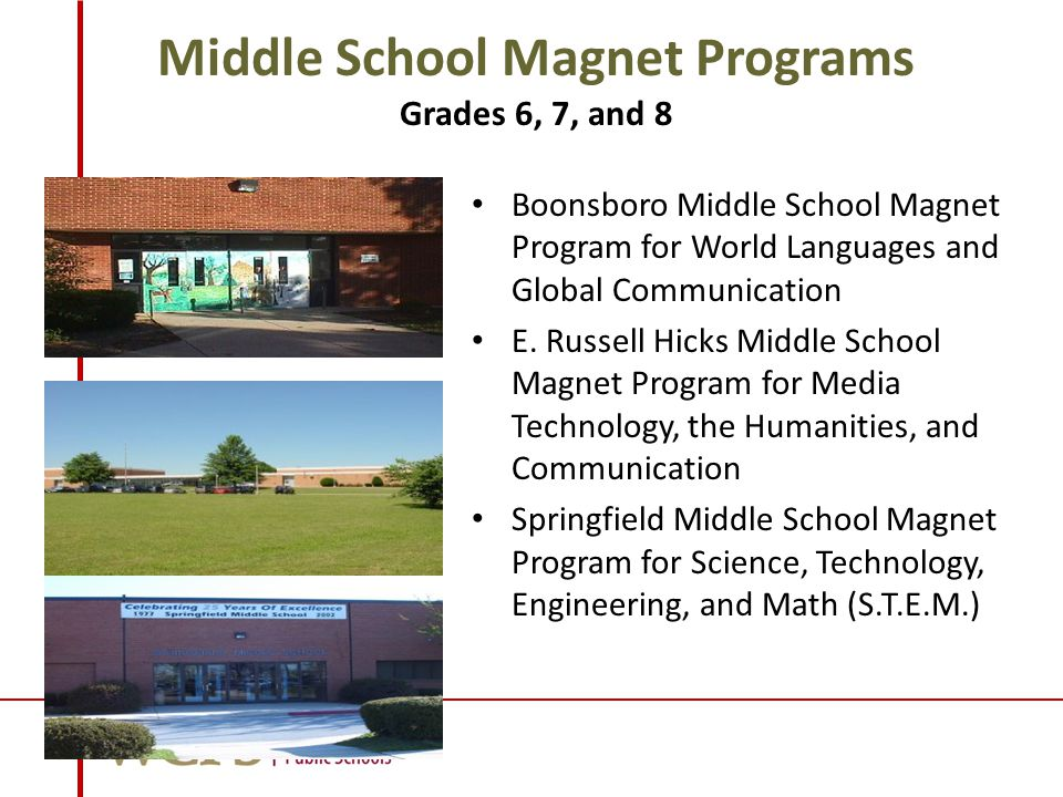 Middle School Magnet Programs Grades 6, 7, and 8 Boonsboro Middle School Magnet Program for World Languages and Global Communication E.