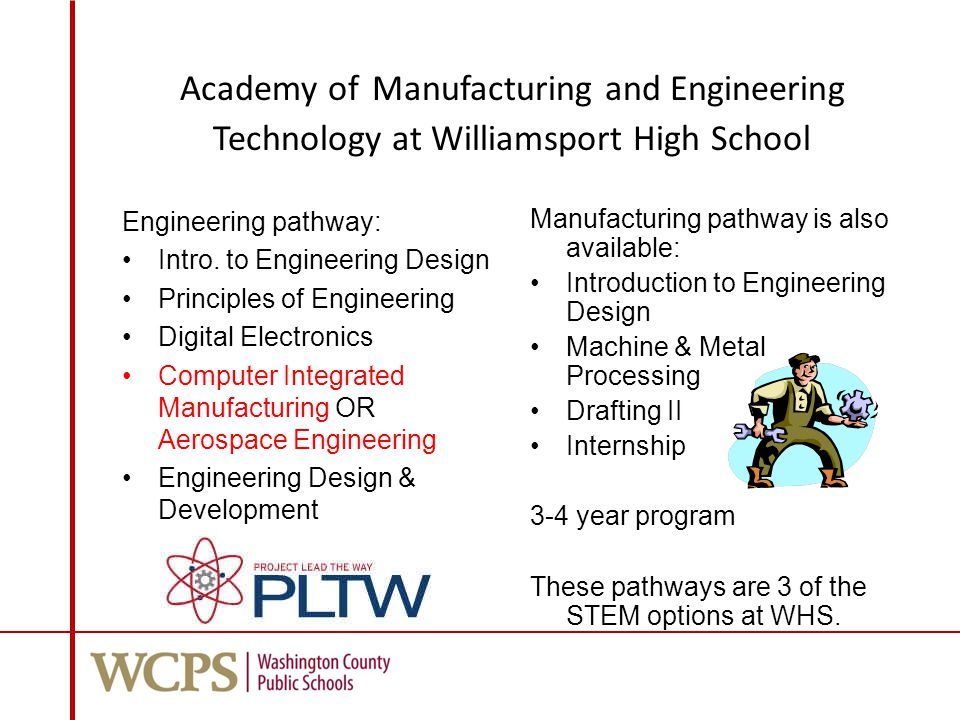 Academy of Manufacturing and Engineering Technology at Williamsport High School Engineering pathway: Intro.