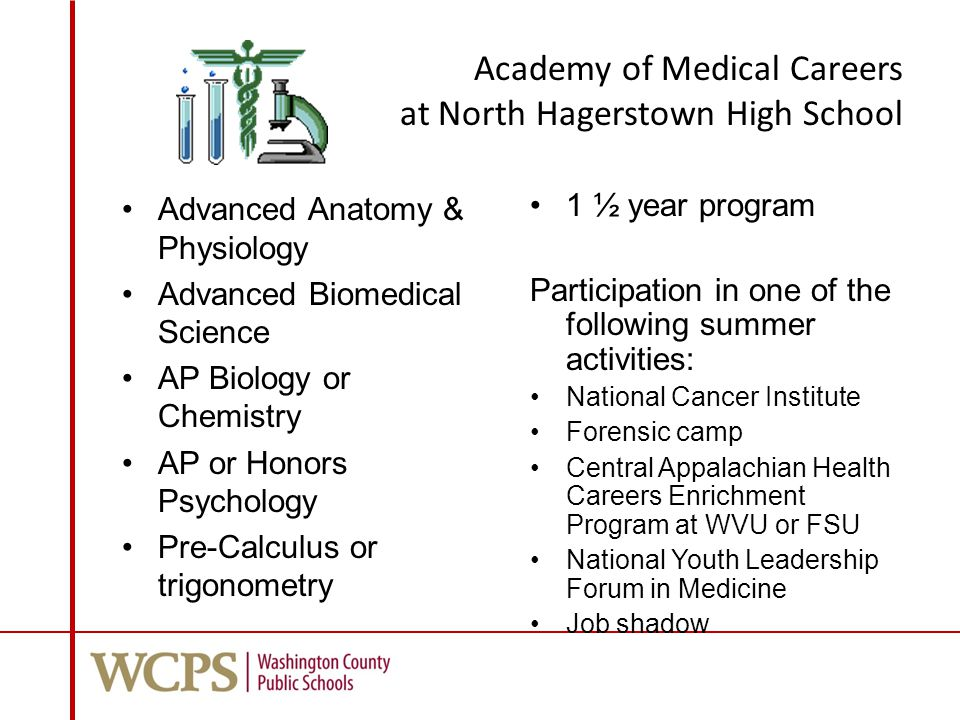 Academy of Medical Careers at North Hagerstown High School Advanced Anatomy & Physiology Advanced Biomedical Science AP Biology or Chemistry AP or Honors Psychology Pre-Calculus or trigonometry 1 ½ year program Participation in one of the following summer activities: National Cancer Institute Forensic camp Central Appalachian Health Careers Enrichment Program at WVU or FSU National Youth Leadership Forum in Medicine Job shadow