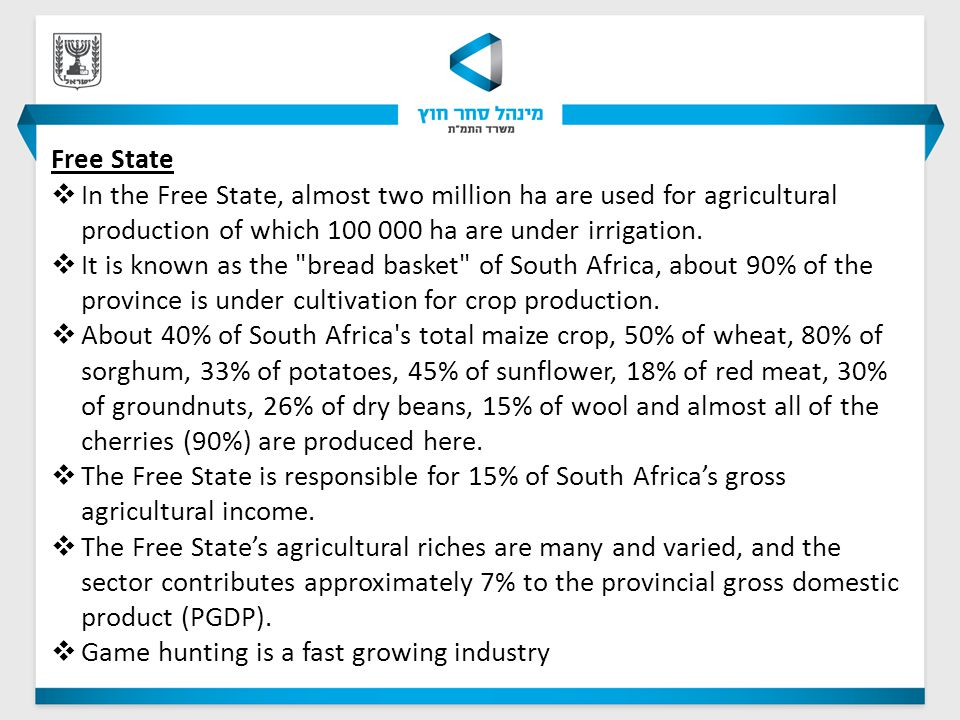 Free State  In the Free State, almost two million ha are used for agricultural production of which 100 000 ha are under irrigation.