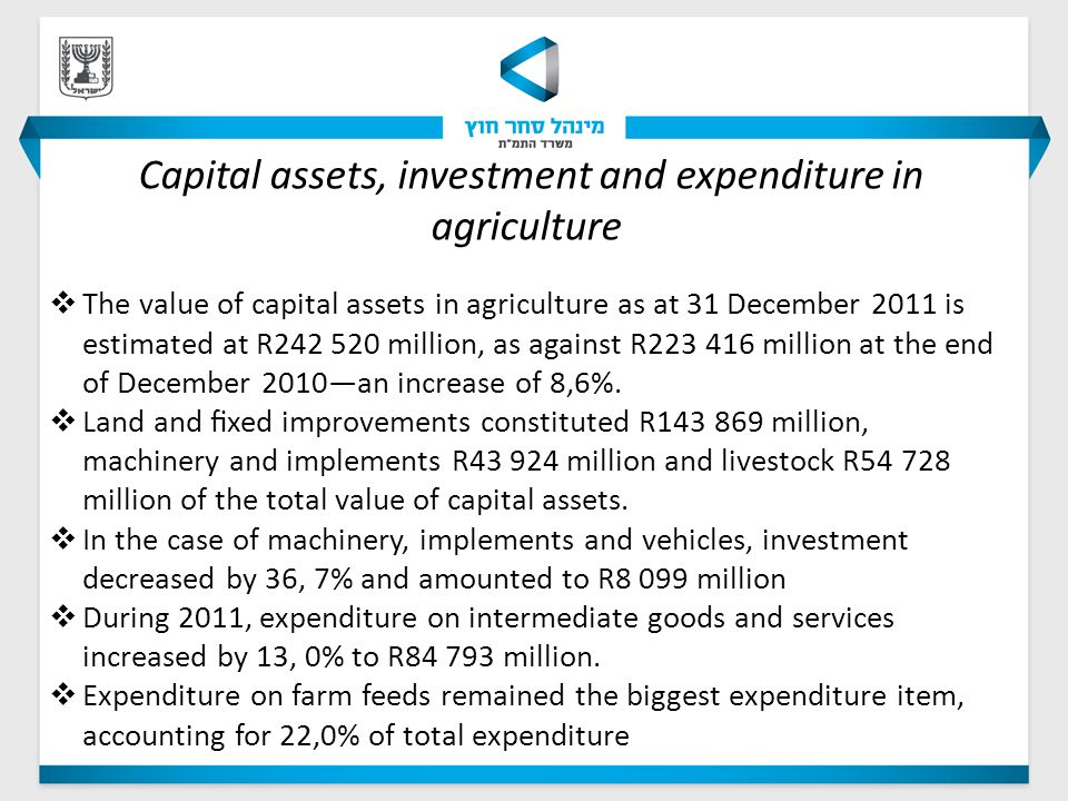 Capital assets, investment and expenditure in agriculture  The value of capital assets in agriculture as at 31 December 2011 is estimated at R242 520 million, as against R223 416 million at the end of December 2010—an increase of 8,6%.