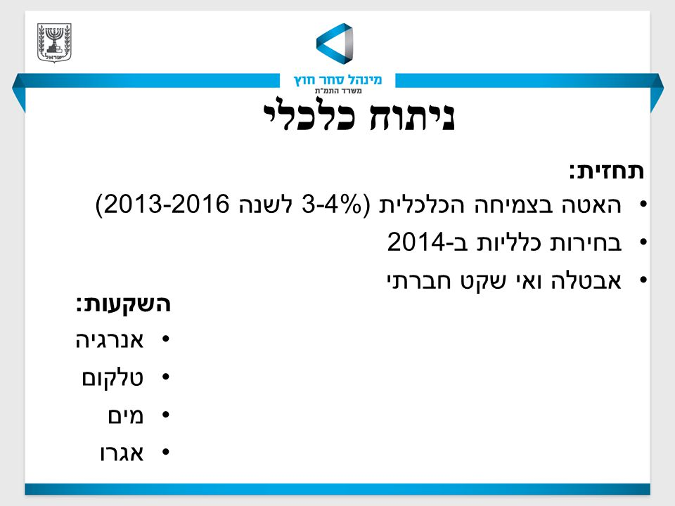 ניתוח כלכלי השקעות : אנרגיה טלקום מים אגרו תחזית : האטה בצמיחה הכלכלית (3-4% לשנה 2013-2016) בחירות כלליות ב -2014 אבטלה ואי שקט חברתי