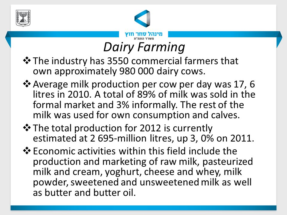 Dairy Farming  The industry has 3550 commercial farmers that own approximately 980 000 dairy cows.