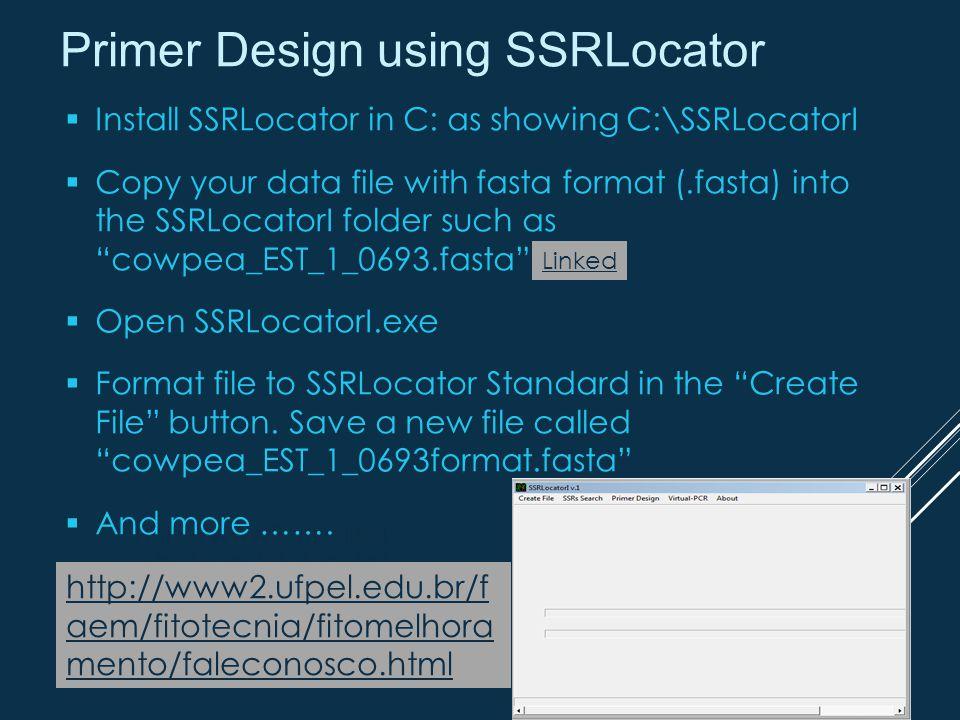 Primer Design using SSRLocator http://www2.ufpel.ed u.br/faem/fitotecnia/ fitomelhoramento/fal econosco.html  Install SSRLocator in C: as showing C:\SSRLocatorI  Copy your data file with fasta format (.fasta) into the SSRLocatorI folder such as cowpea_EST_1_0693.fasta  Open SSRLocatorI.exe  Format file to SSRLocator Standard in the Create File button.