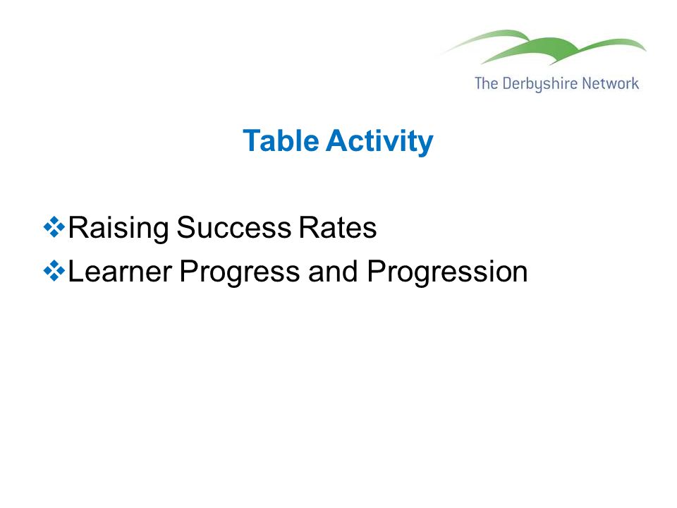 Table Activity  Raising Success Rates  Learner Progress and Progression