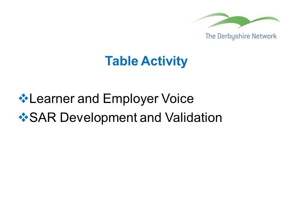 Table Activity  Learner and Employer Voice  SAR Development and Validation