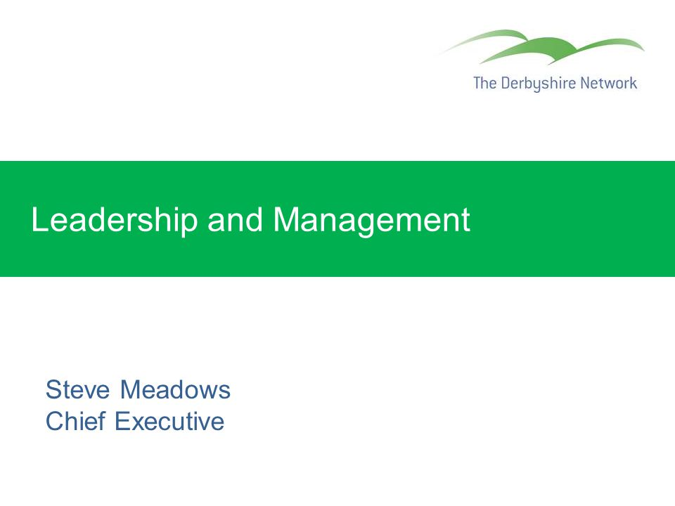 Leadership and Management Steve Meadows Chief Executive