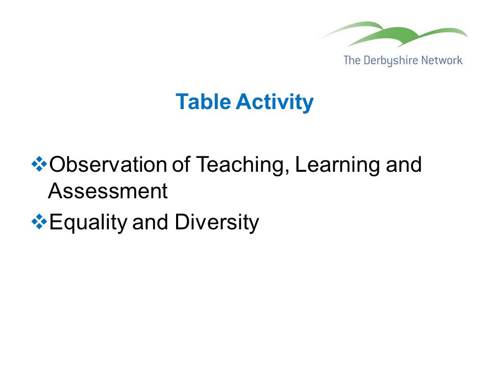 Table Activity  Observation of Teaching, Learning and Assessment  Equality and Diversity