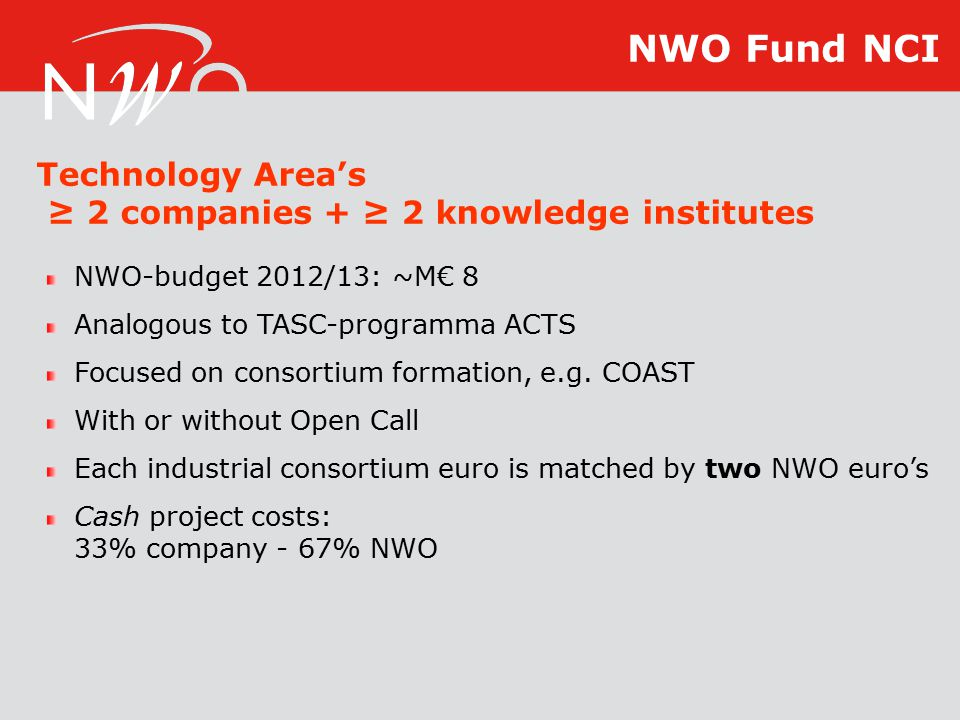NWO-budget 2012/13: ~M€ 8 Analogous to TASC-programma ACTS Focused on consortium formation, e.g.