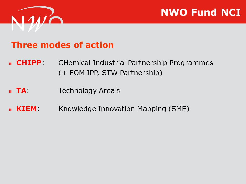 Three modes of action CHIPP:CHemical Industrial Partnership Programmes (+ FOM IPP, STW Partnership) TA:Technology Area's KIEM:Knowledge Innovation Mapping (SME) NWO Fund NCI