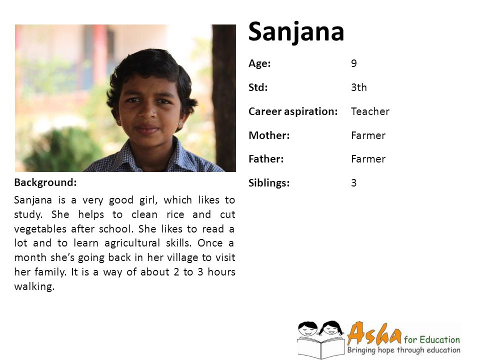 Sanjana Background: Sanjana is a very good girl, which likes to study. She helps to clean rice and cut vegetables after school. She likes to read a lo