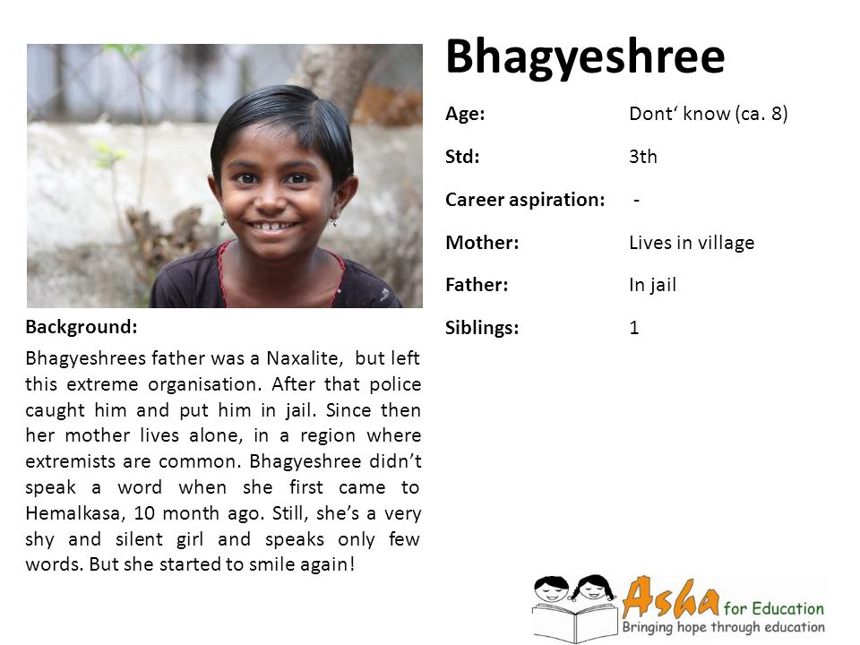Bhagyeshree Background: Bhagyeshrees father was a Naxalite, but left this extreme organisation. After that police caught him and put him in jail. Sinc