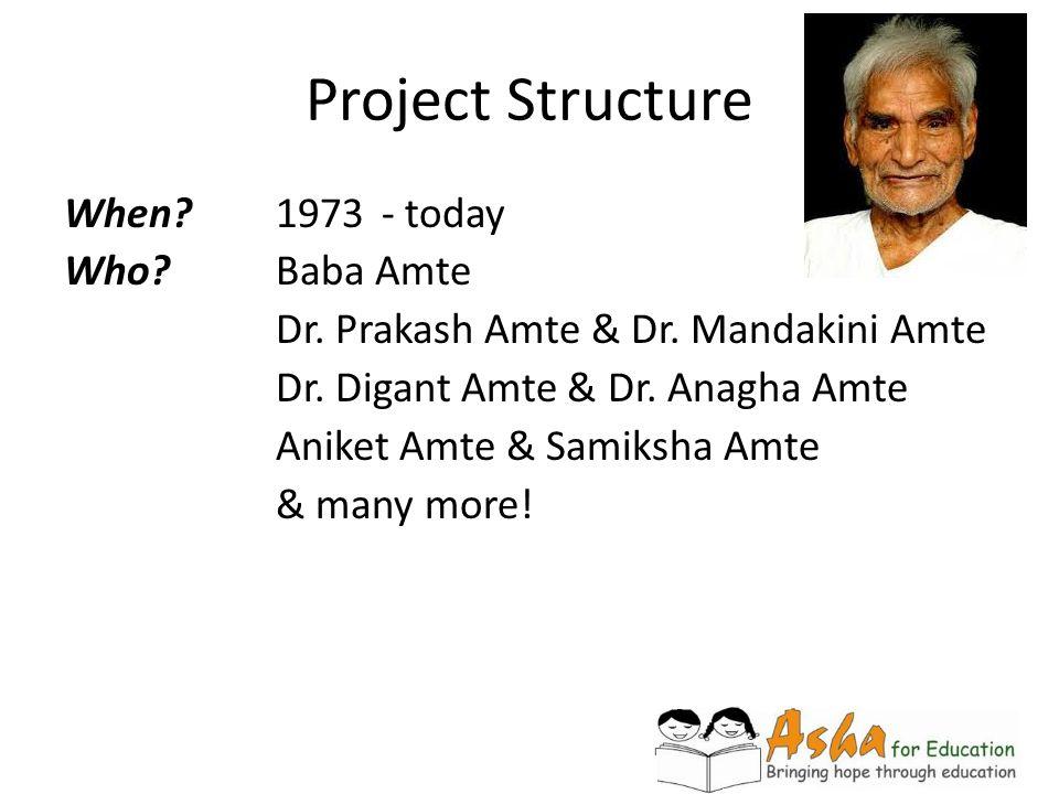 Project Structure When? 1973- today Who?Baba Amte Dr. Prakash Amte & Dr. Mandakini Amte Dr. Digant Amte & Dr. Anagha Amte Aniket Amte & Samiksha Amte