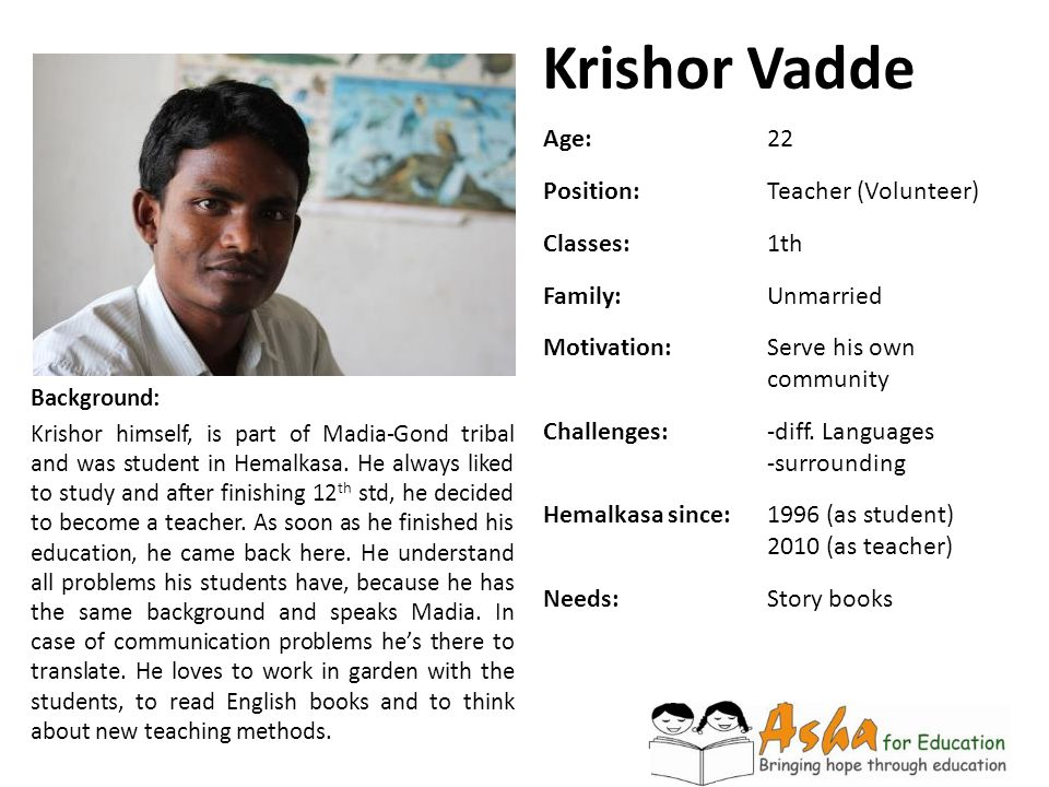 Krishor Vadde Background: Krishor himself, is part of Madia-Gond tribal and was student in Hemalkasa. He always liked to study and after finishing 12