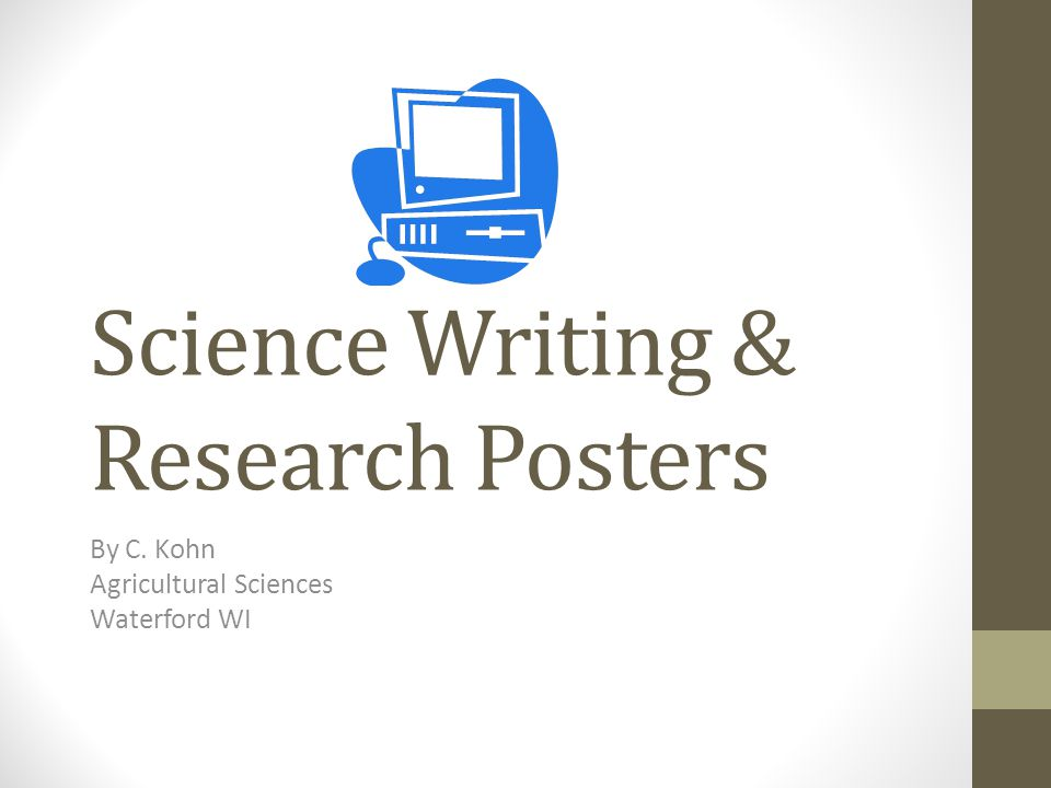 Science Writing & Research Posters By C. Kohn Agricultural Sciences Waterford WI