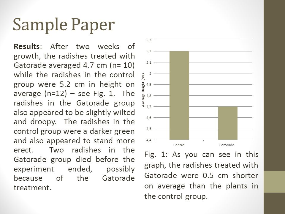 Sample Paper Results: After two weeks of growth, the radishes treated with Gatorade averaged 4.7 cm (n= 10) while the radishes in the control group were 5.2 cm in height on average (n=12) – see Fig.