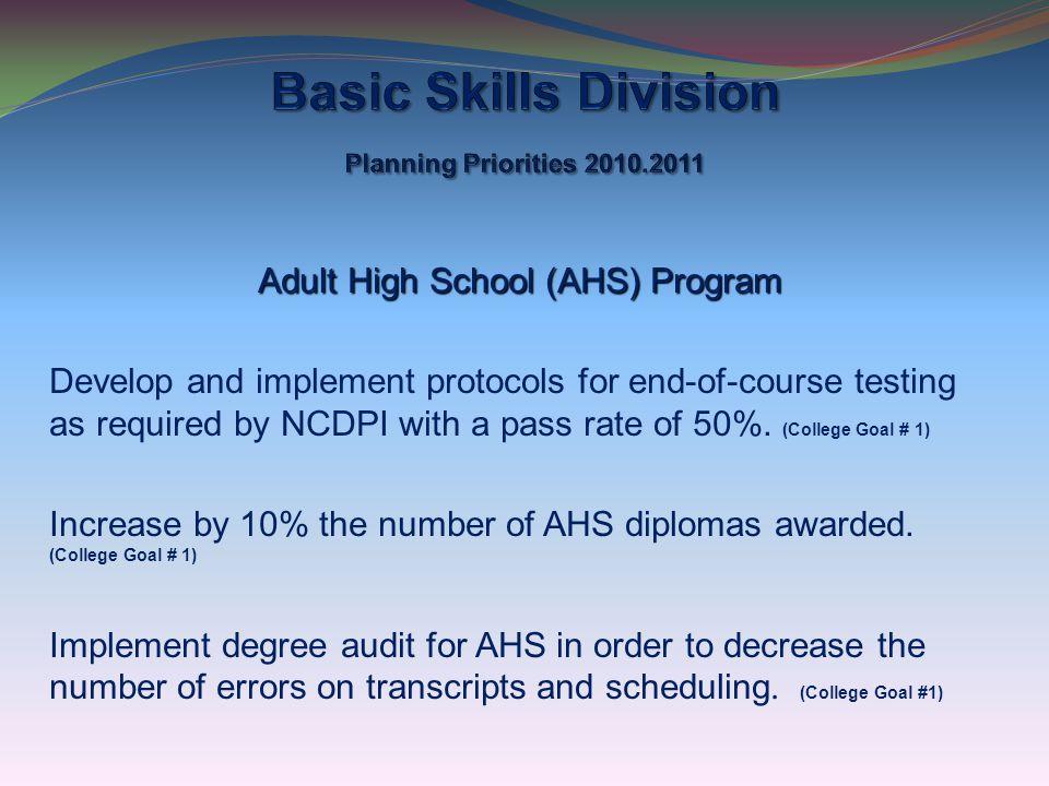 Basic Skills Division Planning Priorities 2010.2011