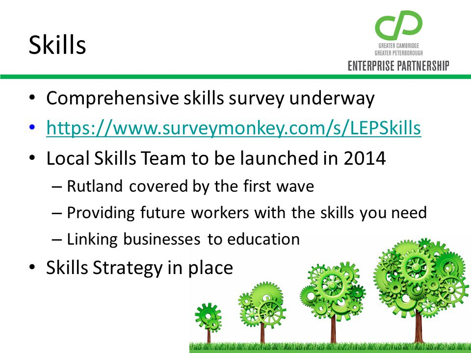Skills Comprehensive skills survey underway https://www.surveymonkey.com/s/LEPSkills Local Skills Team to be launched in 2014 – Rutland covered by the first wave – Providing future workers with the skills you need – Linking businesses to education Skills Strategy in place