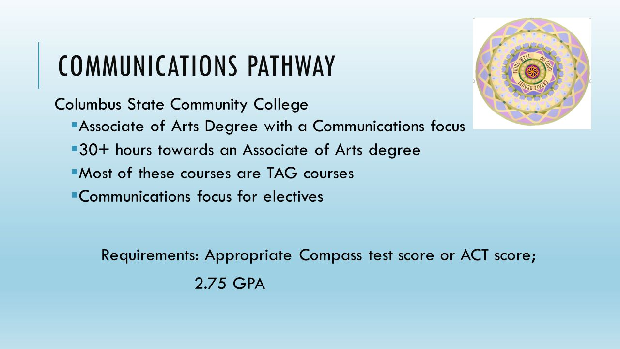 DRAFT COMMUNICATIONS PATHWAY Columbus State Community College  Associate of Arts Degree with a Communications focus  30+ hours towards an Associate of Arts degree  Most of these courses are TAG courses  Communications focus for electives Requirements: Appropriate Compass test score or ACT score; 2.75 GPA