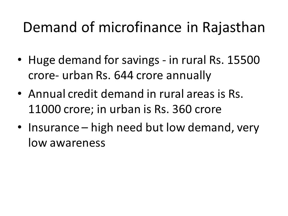 Demand of microfinance in Rajasthan Huge demand for savings - in rural Rs.