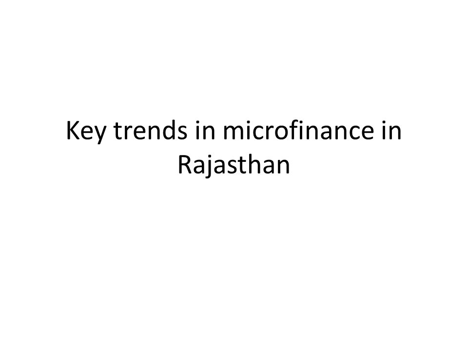 Key trends in microfinance in Rajasthan