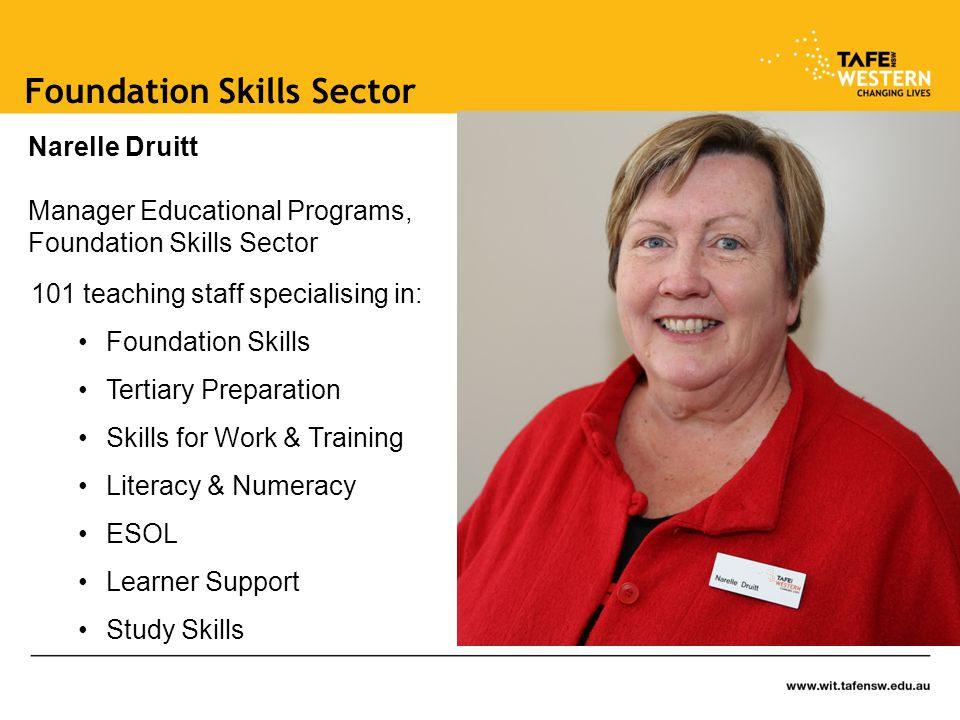 Foundation Skills Sector 101 teaching staff specialising in: Foundation Skills Tertiary Preparation Skills for Work & Training Literacy & Numeracy ESOL Learner Support Study Skills Narelle Druitt Manager Educational Programs, Foundation Skills Sector
