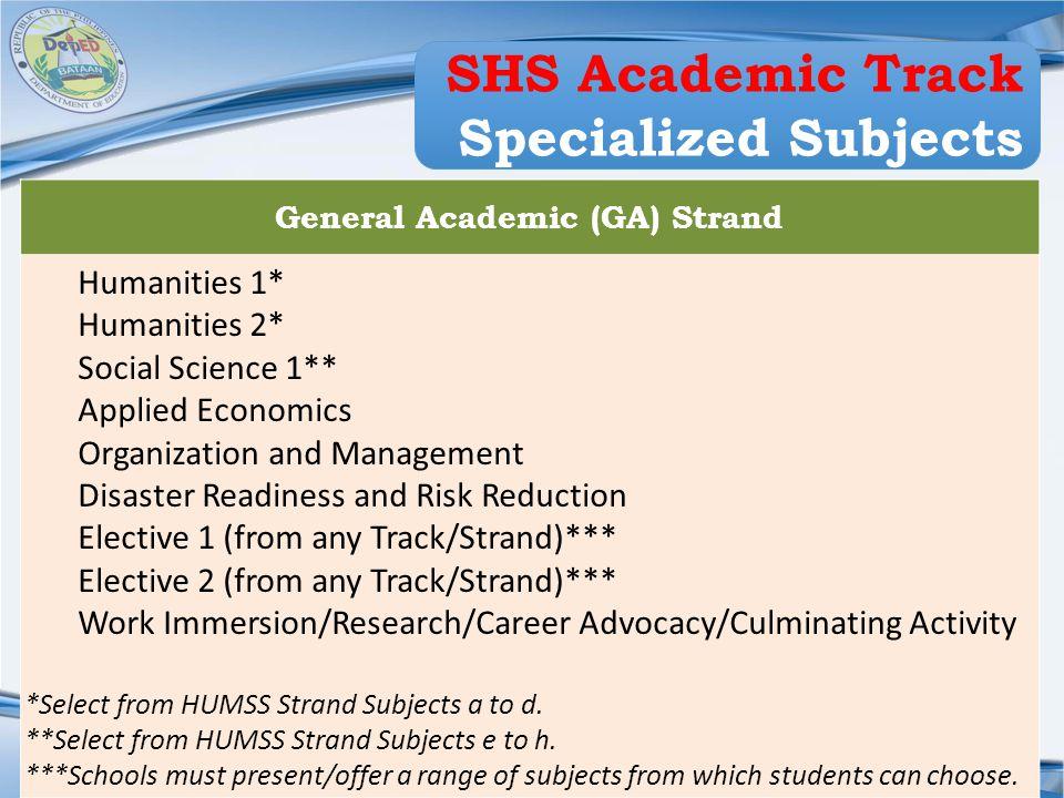 Region III DIVISION OF BATAAN General Academic (GA) Strand Humanities 1* Humanities 2* Social Science 1** Applied Economics Organization and Managemen