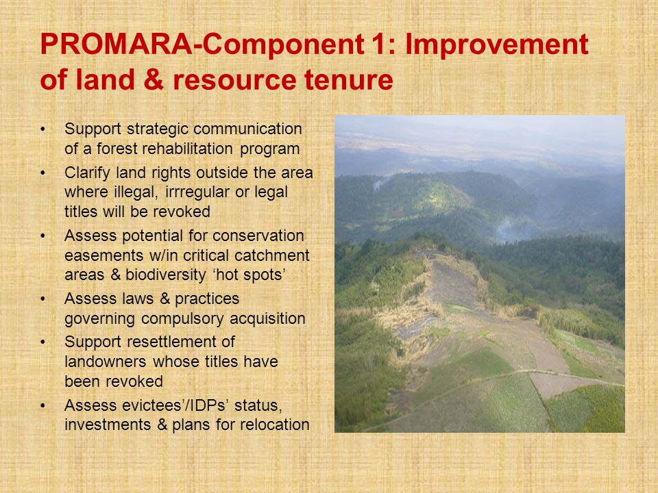 PROMARA-Component 1: Improvement of land & resource tenure Support strategic communication of a forest rehabilitation program Clarify land rights outside the area where illegal, irrregular or legal titles will be revoked Assess potential for conservation easements w/in critical catchment areas & biodiversity 'hot spots' Assess laws & practices governing compulsory acquisition Support resettlement of landowners whose titles have been revoked Assess evictees'/IDPs' status, investments & plans for relocation