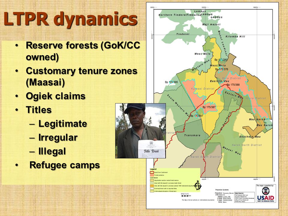LTPR dynamics Reserve forests (GoK/CC owned)Reserve forests (GoK/CC owned) Customary tenure zones (Maasai)Customary tenure zones (Maasai) Ogiek claims