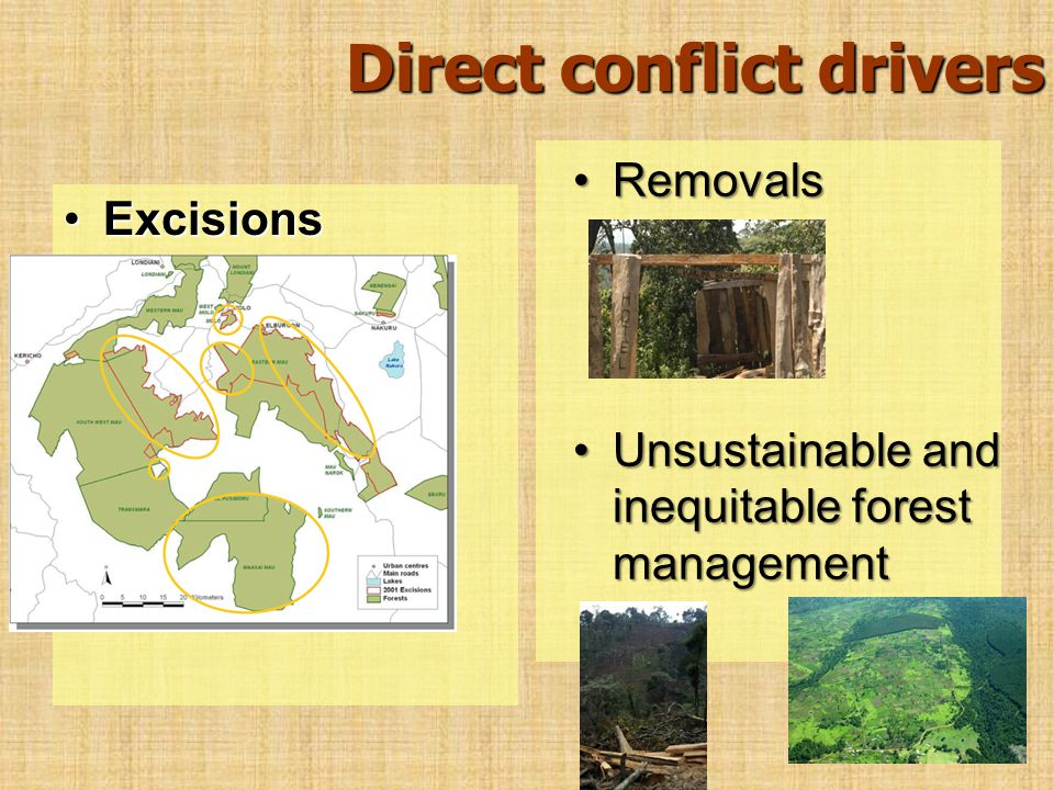 Direct conflict drivers ExcisionsExcisions RemovalsRemovals Unsustainable and inequitable forest managementUnsustainable and inequitable forest manage