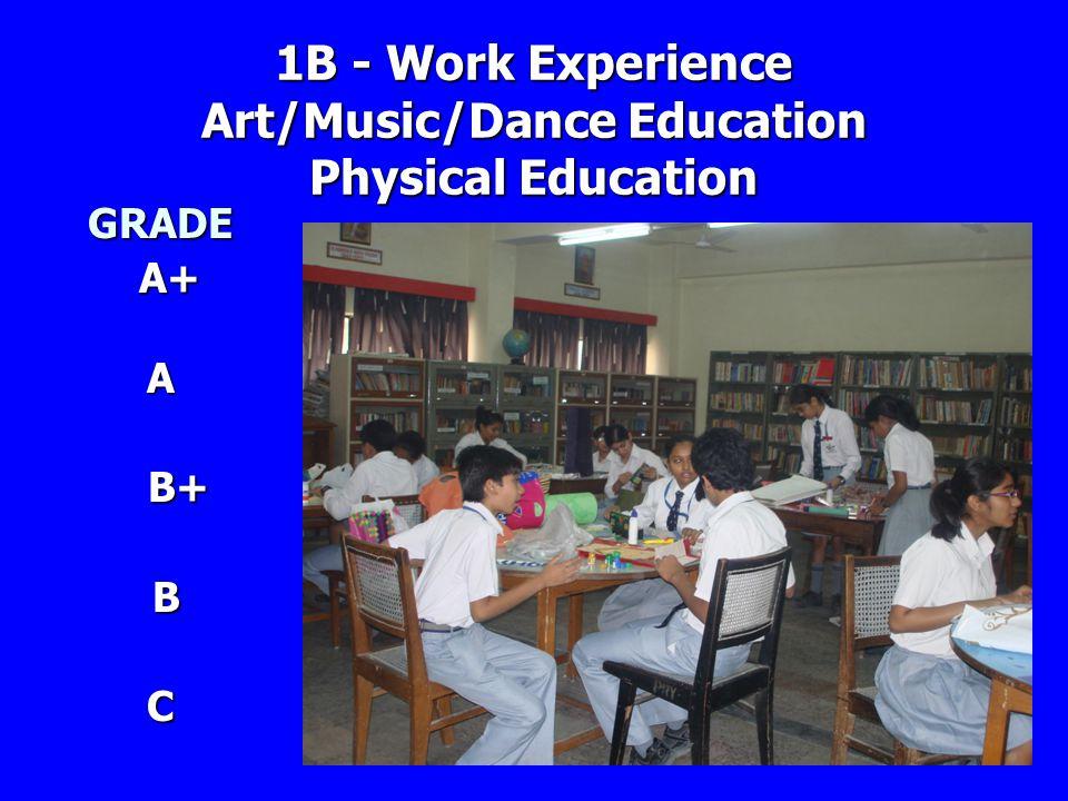 1B - Work Experience Art/Music/Dance Education Physical Education GRADE A+ A+A B+ B+ B C