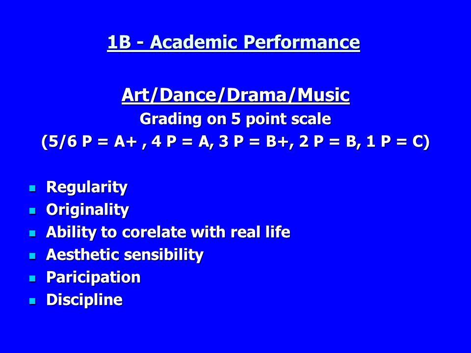 1B - Academic Performance Art/Dance/Drama/Music Grading on 5 point scale (5/6 P = A+, 4 P = A, 3 P = B+, 2 P = B, 1 P = C) Regularity Regularity Origi