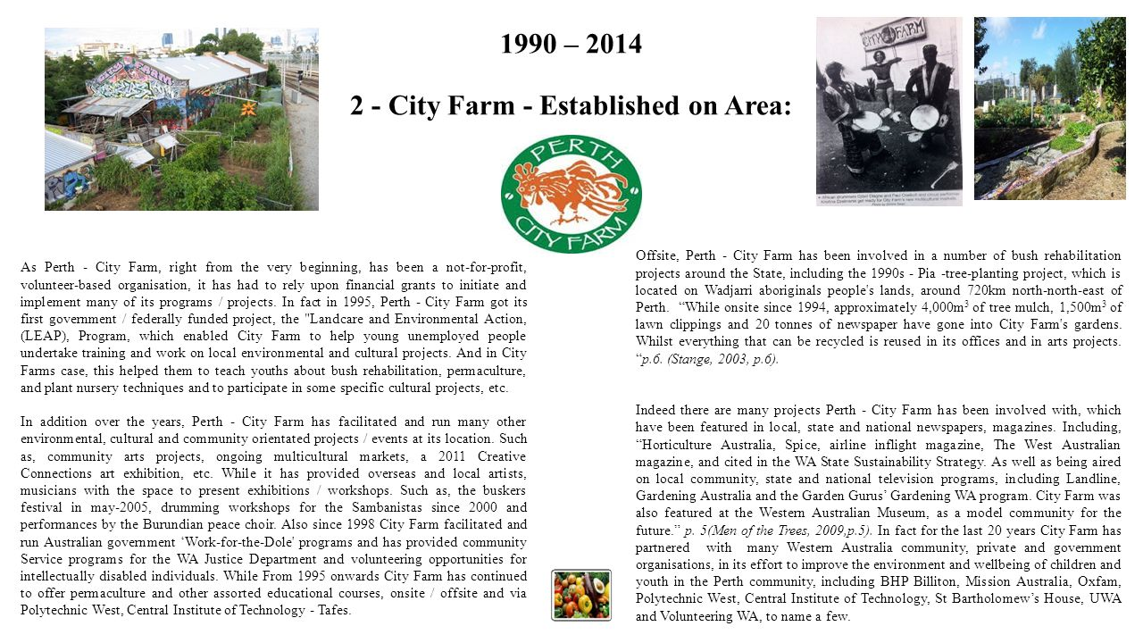 1990 – 2014 2 - City Farm - Established on Area: As Perth - City Farm, right from the very beginning, has been a not-for-profit, volunteer-based organ