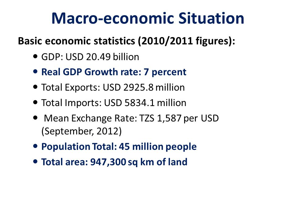 Macro-economic Situation Basic economic statistics (2010/2011 figures): GDP: USD 20.49 billion Real GDP Growth rate: 7 percent Total Exports: USD 2925.8 million Total Imports: USD 5834.1 million Mean Exchange Rate: TZS 1,587 per USD (September, 2012) Population Total: 45 million people Total area: 947,300 sq km of land