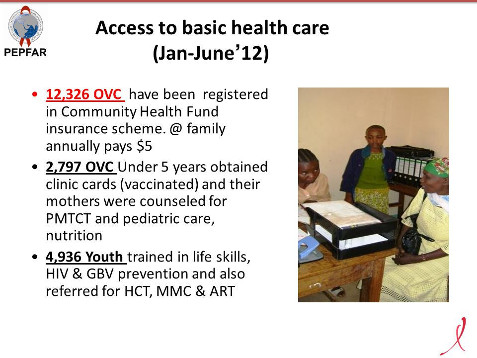 Access to basic health care (Jan-June'12) 12,326 OVC have been registered in Community Health Fund insurance scheme. @ family annually pays $5 2,797 O