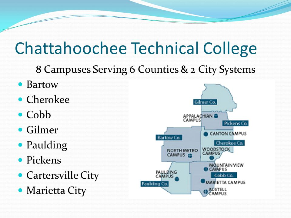 Chattahoochee Technical College 8 Campuses Serving 6 Counties & 2 City Systems Bartow Cherokee Cobb Gilmer Paulding Pickens Cartersville City Marietta City