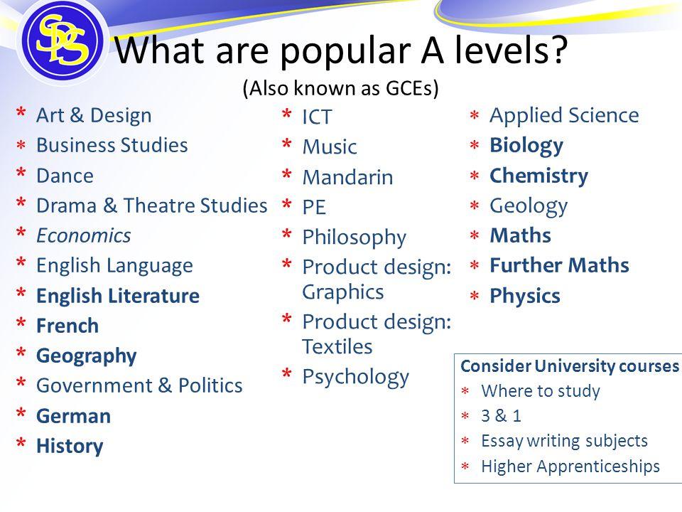 What are popular A levels? (Also known as GCEs) *Art & Design  Business Studies *Dance *Drama & Theatre Studies *Economics *English Language *English