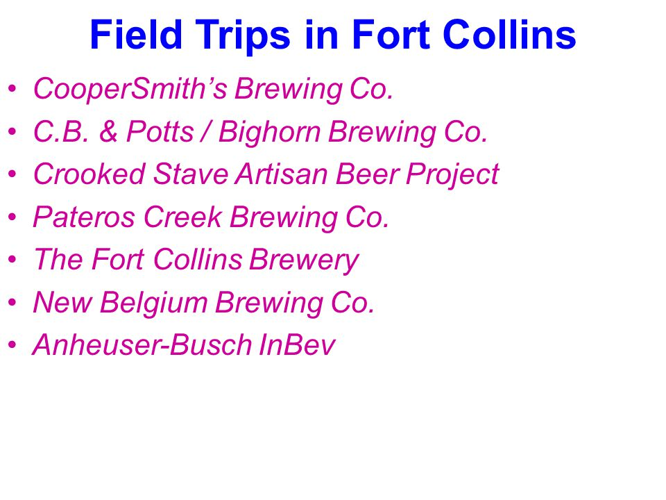 Field Trips in Fort Collins CooperSmith's Brewing Co.