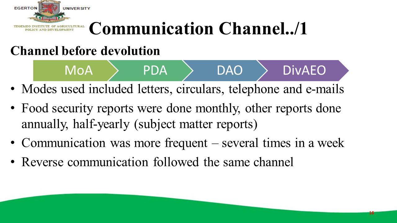 Communication Channel../1 Channel before devolution Modes used included letters, circulars, telephone and e-mails Food security reports were done mont