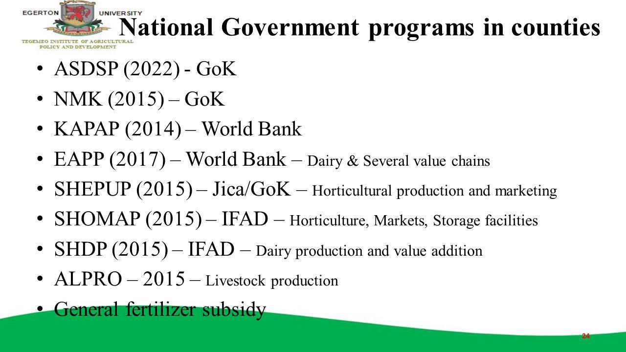 National Government programs in counties ASDSP (2022) - GoK NMK (2015) – GoK KAPAP (2014) – World Bank EAPP (2017) – World Bank – Dairy & Several valu