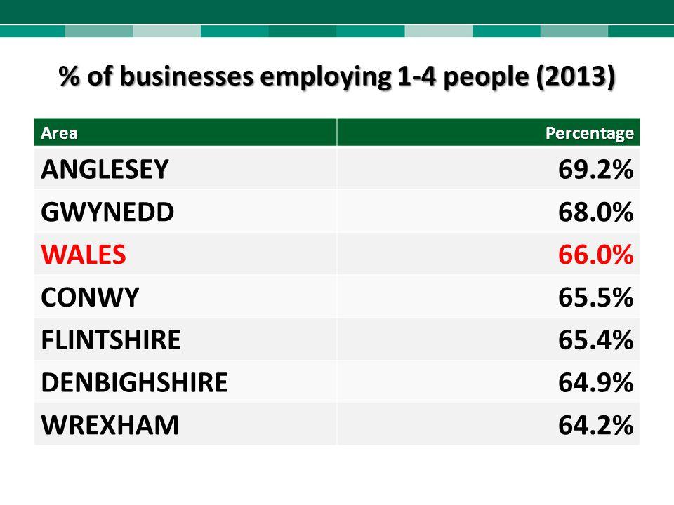 % of businesses employing 1-4 people (2013) AreaPercentage ANGLESEY69.2% GWYNEDD68.0% WALES66.0% CONWY65.5% FLINTSHIRE65.4% DENBIGHSHIRE64.9% WREXHAM6