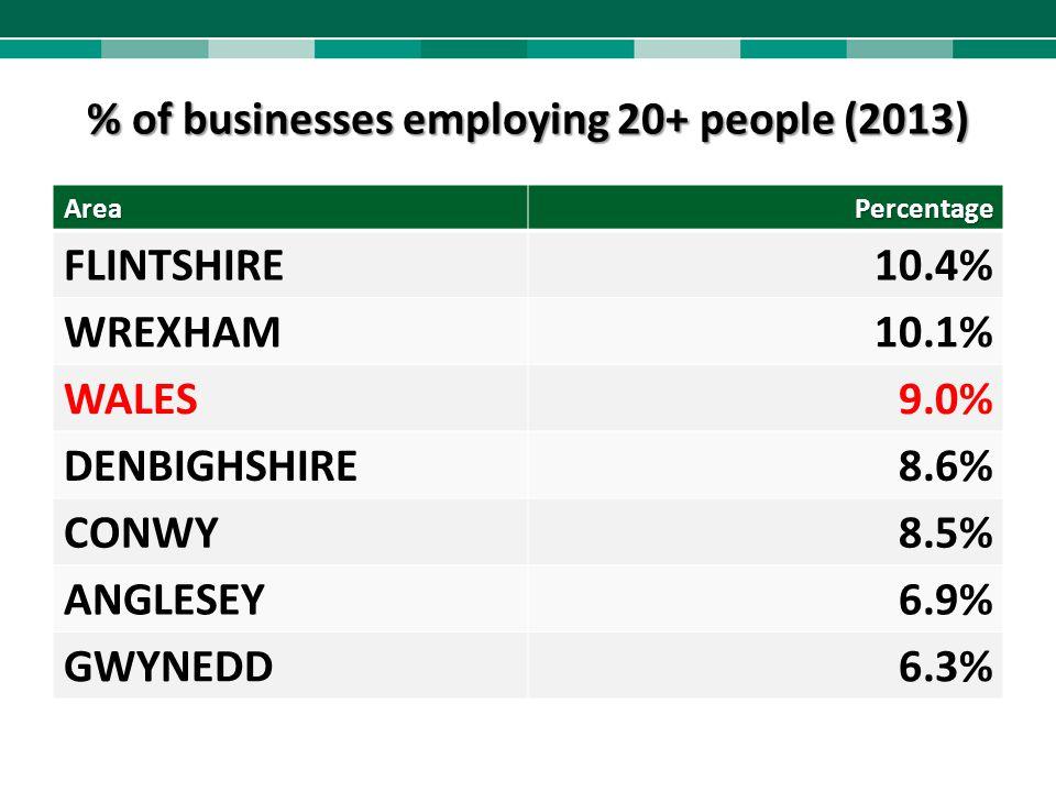 % of businesses employing 20+ people (2013) AreaPercentage FLINTSHIRE10.4% WREXHAM10.1% WALES9.0% DENBIGHSHIRE8.6% CONWY8.5% ANGLESEY6.9% GWYNEDD6.3%