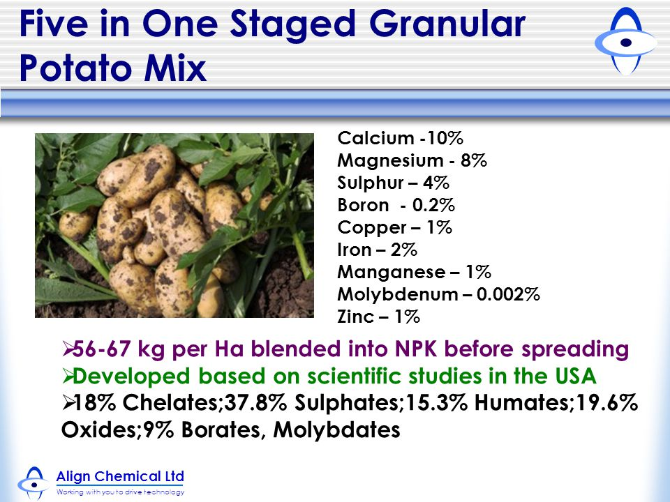 Align Chemical Ltd Working with you to drive technology Five in One Staged Granular Potato Mix Calcium -10% Magnesium - 8% Sulphur – 4% Boron - 0.2% Copper – 1% Iron – 2% Manganese – 1% Molybdenum – 0.002% Zinc – 1%  56-67 kg per Ha blended into NPK before spreading  Developed based on scientific studies in the USA  18% Chelates;37.8% Sulphates;15.3% Humates;19.6% Oxides;9% Borates, Molybdates