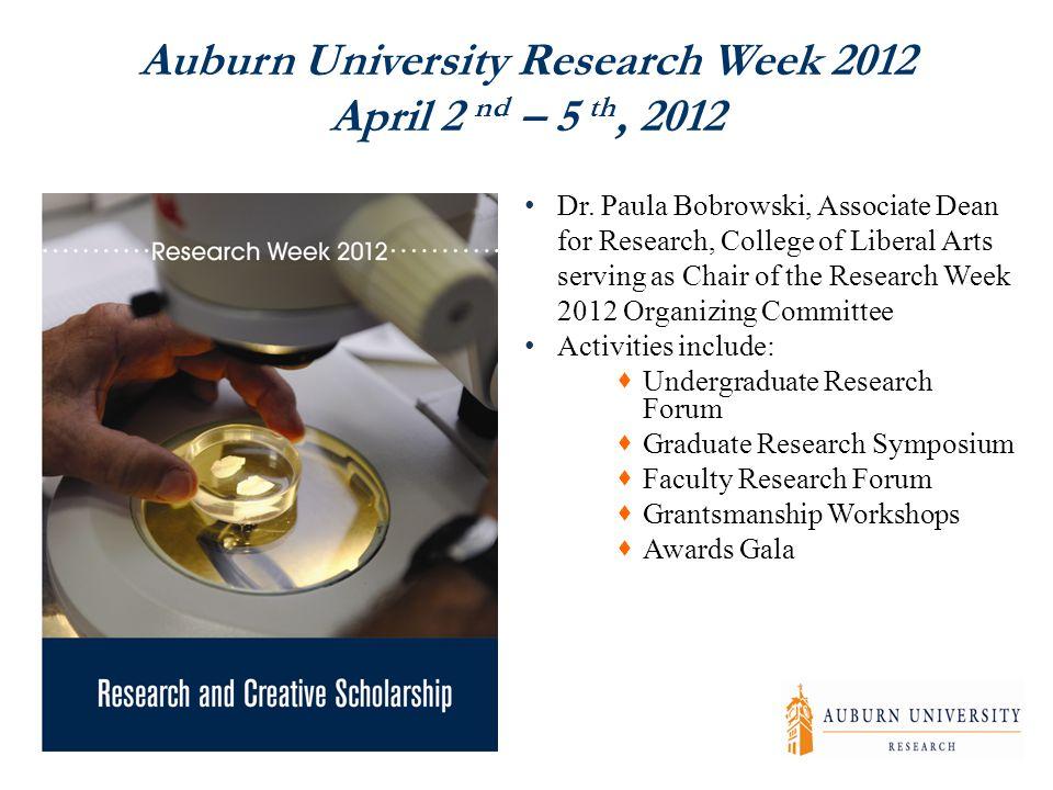 Auburn University Research Week 2012 April 2 nd – 5 th, 2012 Dr.