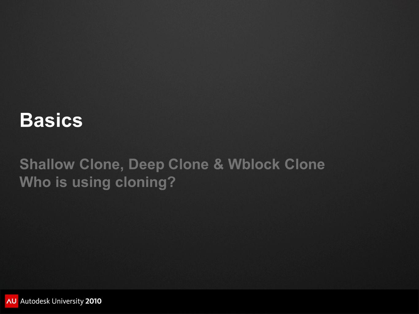 Basics Shallow Clone, Deep Clone & Wblock Clone Who is using cloning?