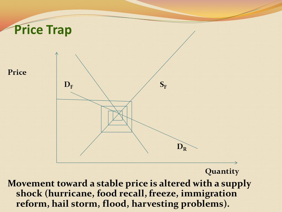 Price Trap Price D F S F D R Quantity Movement toward a stable price is altered with a supply shock (hurricane, food recall, freeze, immigration reform, hail storm, flood, harvesting problems).