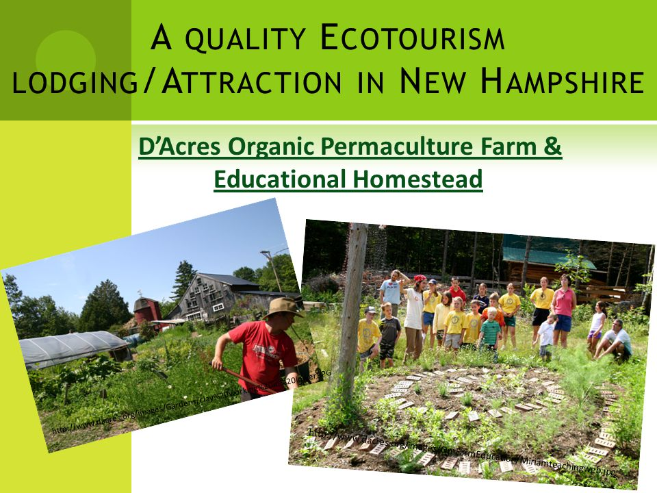 A QUALITY E COTOURISM LODGING /A TTRACTION IN N EW H AMPSHIRE D'Acres Organic Permaculture Farm & Educational Homestead http://www.dacres.org/images/On-FarmEducation/Miriamteachingweb.jpg http://www.dacres.org/images/Gardens/clay%20working%20in%20lower.JPG